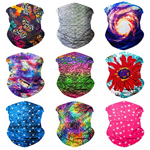 Sojourner 9PCS Seamless Bandanas Face Mask Headband Scarf Headwrap Neckwarmer & More – 12-in-1 Multifunctional for Music Festivals, Raves, Riding, Outdoors (Festival 3)