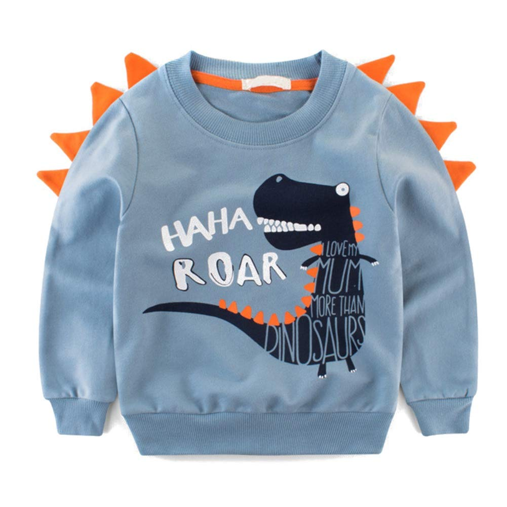 BOBORA Toddler Boys Dinosaur Clothes Kids Long Sleeve Sweatshirts Cartoon Cotton Jumper Pullover Sweater Top T-Shirts for 2-8Years BO-UK958