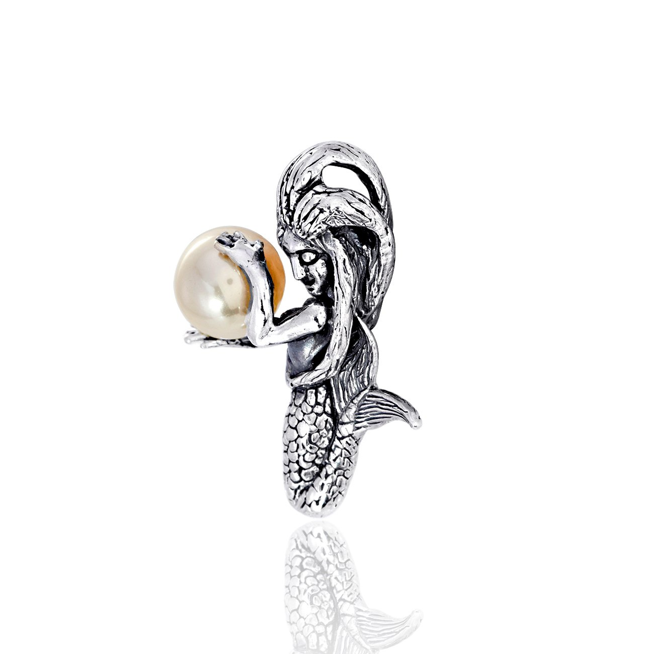 WithLoveSilver 925 Sterling Silver 3D Sleeping Mermaid Holding Simulated Pearl Pendant