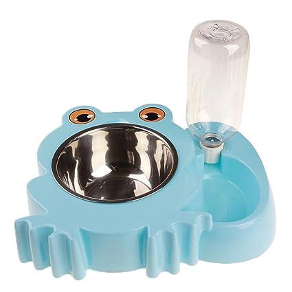 hkfv Superb Cute rana patrón alimentador automático de mascotas cuencos para gatos y perros agua potable