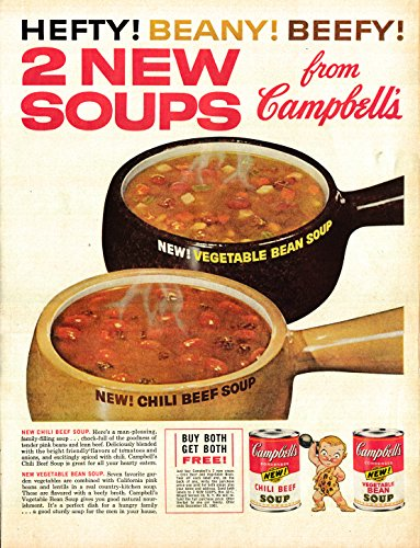 Campbell Art Deco Print - 1962 Campbell's Chili Beef + Vegetable Bean Soup- Original 13.5 * 10.5 Magazine Ad