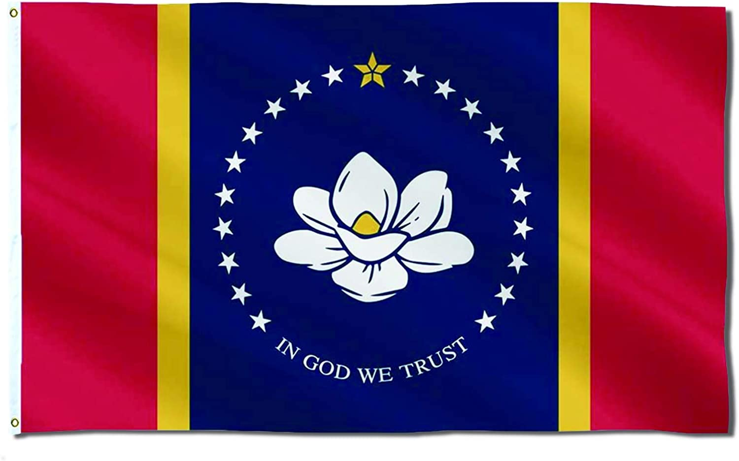 New Mississippi State Flag, 3x5 Outdoor in God We Trust Flag, Magnolia Flag, 150D Polyester Fabric, Brass Grommets, Fading Resistance