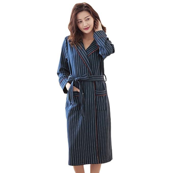 RENHONG Algodón De Primavera Y Verano Grande Para Mujer/Caballero 100% Pijama Largo Sexy Bata De Casa Azul A Rayas,Blue-XXL: Amazon.es: Ropa y accesorios