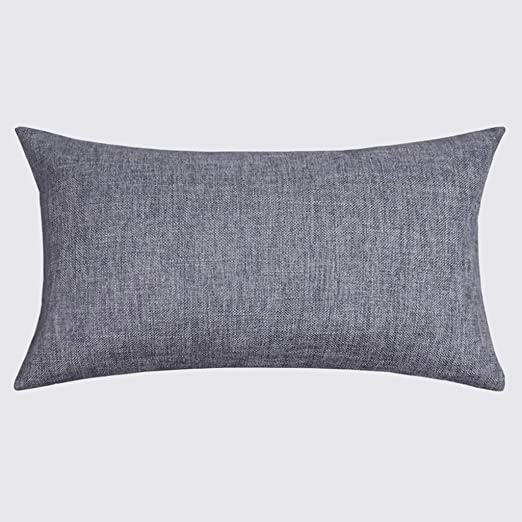 Amazon Com Rectangular Lumbar Pillow Office Sofa Pillow Cushion Solid Color Thick Cotton Pillow With Core Cotton And Linen Pillow Long Color A7 Size 30 50cm Home Kitchen