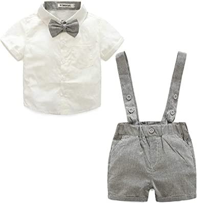 Enfants Formels Party Outfit Gentleman V/êtements Ensembles 0-24 M LEHOUR B/éb/é gar/çons 2Pcs Costumes de bapt/ême Bowtie Shirt Top Bretelles Strap Shorts