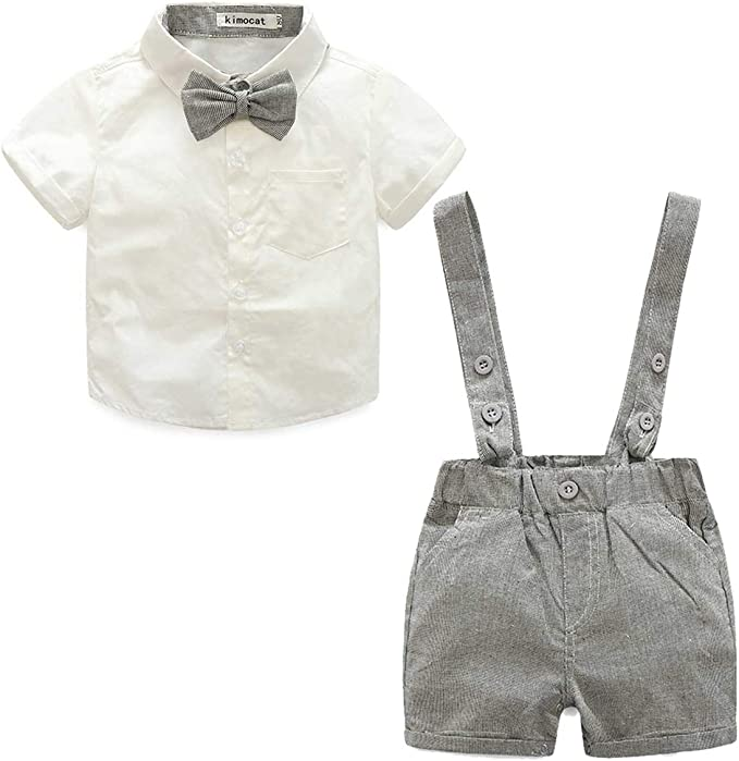 Short Sleeve Bowtie Shirt Tops+Suspenders Shorts 2Pcs Outfits for Toddler Kids Newborn Baby Boys Clothes