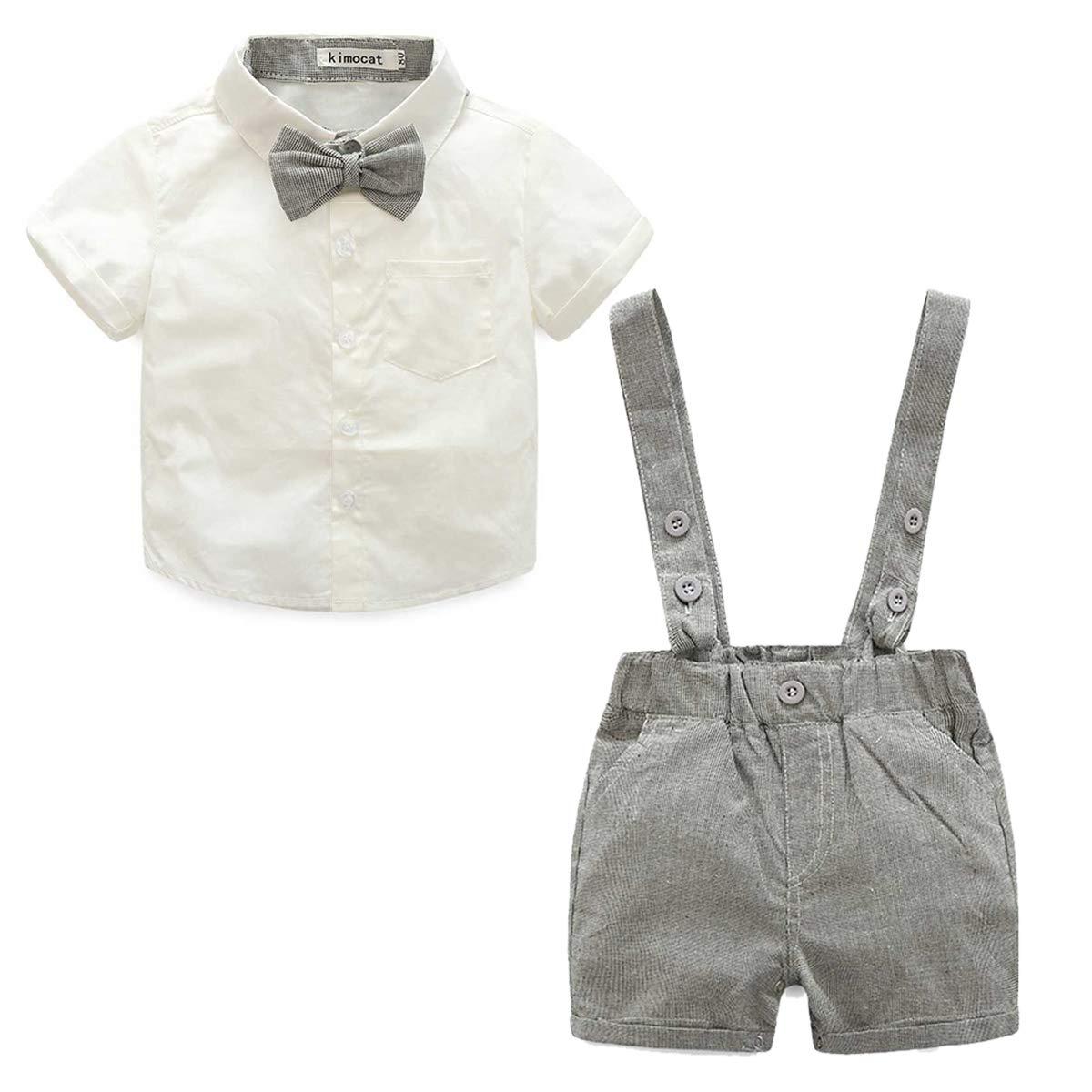 E.Life Bebés 2Pcs Trajes de Bautizo Camisa Bowtie Top + Tirantes Shorts Correa,