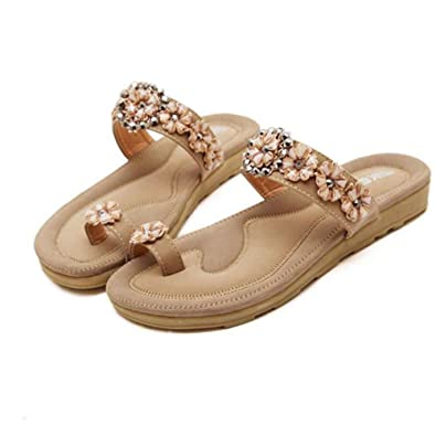 8c35d4c1d Women Sandals ❤ Women s Fashion Sweet Beaded Bohemian Sandals Beach Shoes ❤  Women s Summer Bohemian Beaded Ankle Strap Diamante Beach Leather Flip Flops  ...