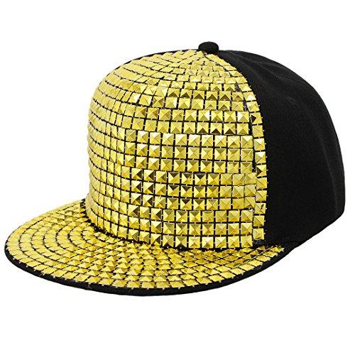 Surkat Kids Fashion Rivets Baseball Cap Snapback Adjustable Flat Baseball Hat Hip Pop Dance Cap(Gold) ()