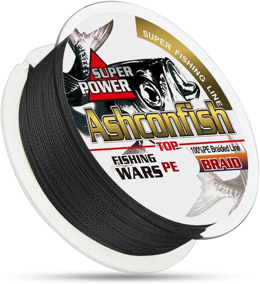 Ashconfish Braided Fishing Line Real Color Fastness 4 8 Braids Strands from 6lb 8lb to 300lb Abrasion Resistant Braided Lines Incredible Superline Zero Stretch Smaller Diameter