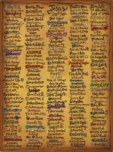 Names Of God Canvas   22x30u0026quot; Christian Wall Art Print