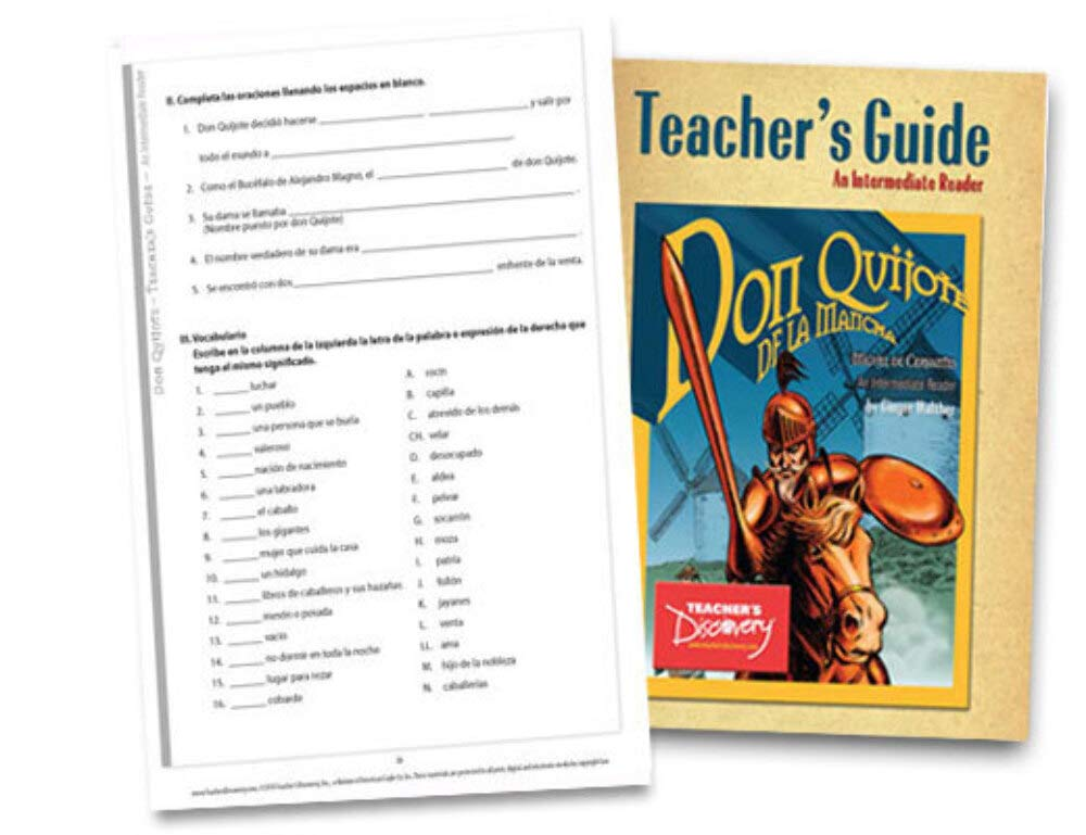 Don Quijote Teacher's Guide Intermediate Spanish Reader by Teacher's Discovery