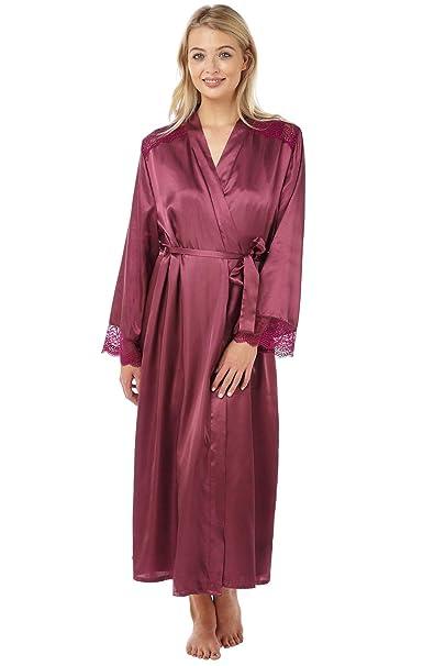 694a80577d312 Undercover Lingerie Ltd Womens Indigo Sky Charmeuse Satin Long Sleeve  Dressing Gown Wrap IN15087 Grape 10