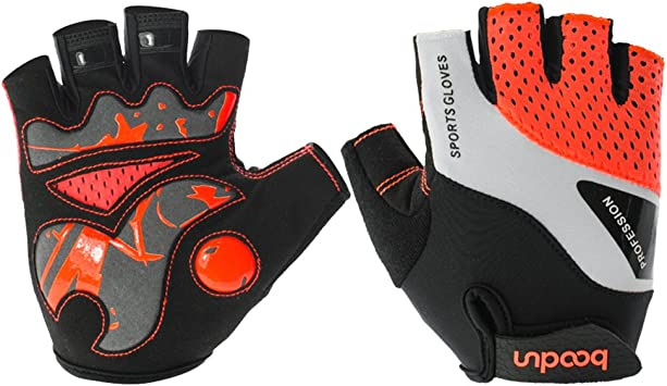 Bicycle Half Finger Gloves with Shock-absorbing Foam Pad Anti-slip Breathable Cycling Gloves Bike Riding Gloves for Man and Woman Simways