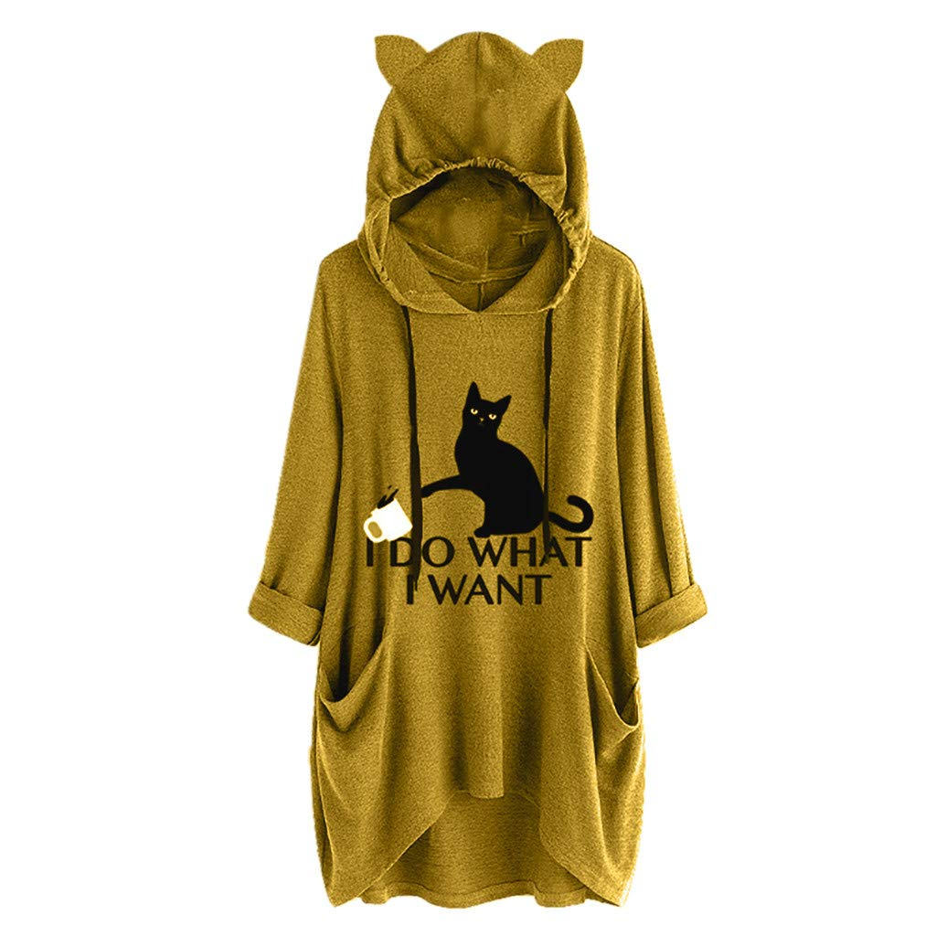 Shusuen Women's 3/4 Sleeve I Do What I Want Letter Print Cat and Cup Ear Hoodie Pocket by Shusuen_Clothes