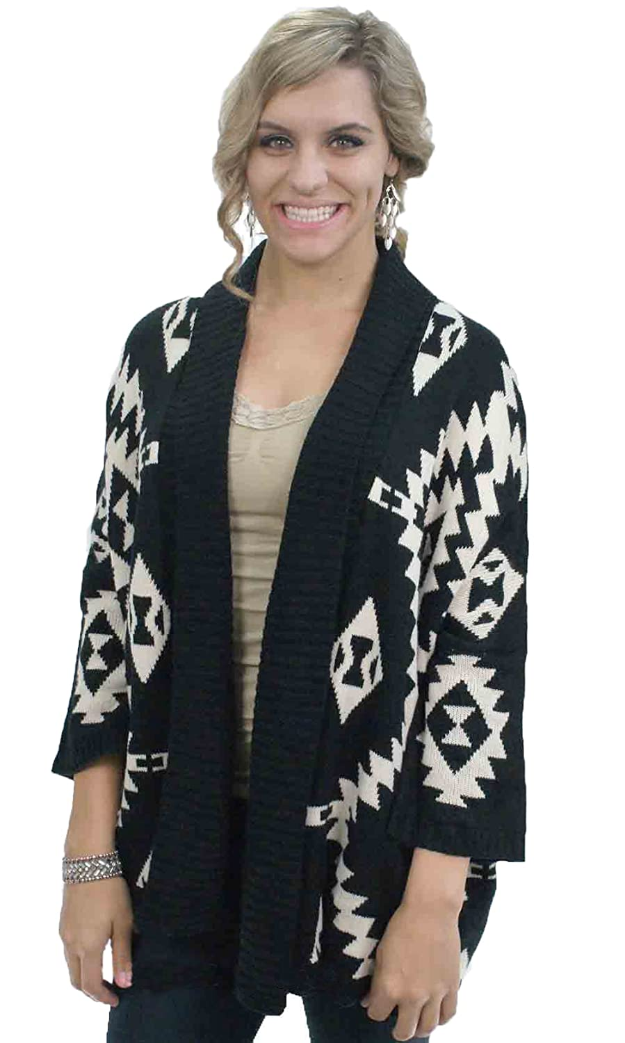 Tribal Chic 3/4 Sleeve Ladies Open Cardigan In Black And Caramel