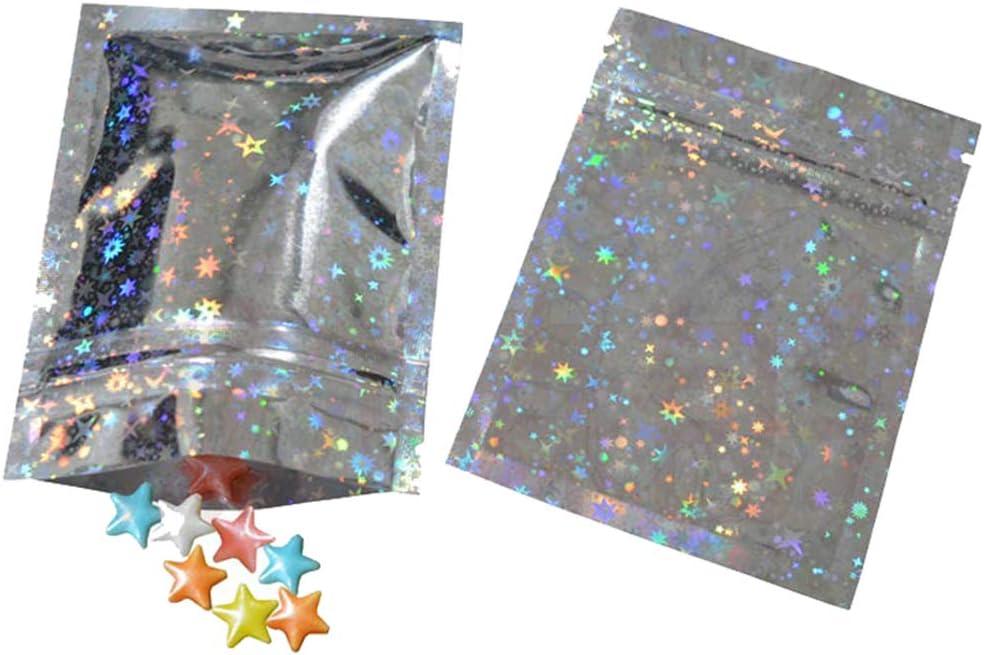 100pcs Aluminum Foil Mylar Reclosable Ziplock Bags Smell Proof Laser Star Pouch Zip Lock Bulk Food Storage Bags Vacuum Sealer Bags (Laser Star Star, 10x15cm (3.9x5.9 Inch))