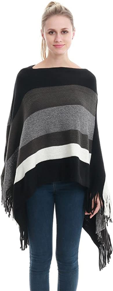 Lady's Stripe Patterns Knitted Poncho Tops Shawl Cape Batwing Blouse with Fringed Sides