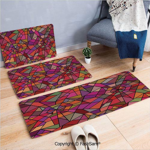 (3 Piece Flannel Bath Carpet Non Slip Mosaic Style Stained Glass Fractal Colorful Geometric Triangle Forms Artful Image Front Door Mats Rugs for Home(W15.7xL23.6 by W19.6xL31.5 by W31.4xL47.2))