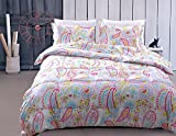 Juwenin Home Bedding Pink Girls comforter Set With 2 pillow sham 100% Cotton (cmf-BIANHUAKAI, Queen)