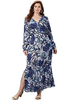 e97d6a6de12 Roamans Women s Plus Size Tiered Crinkle Maxi Dress with Blouson ...
