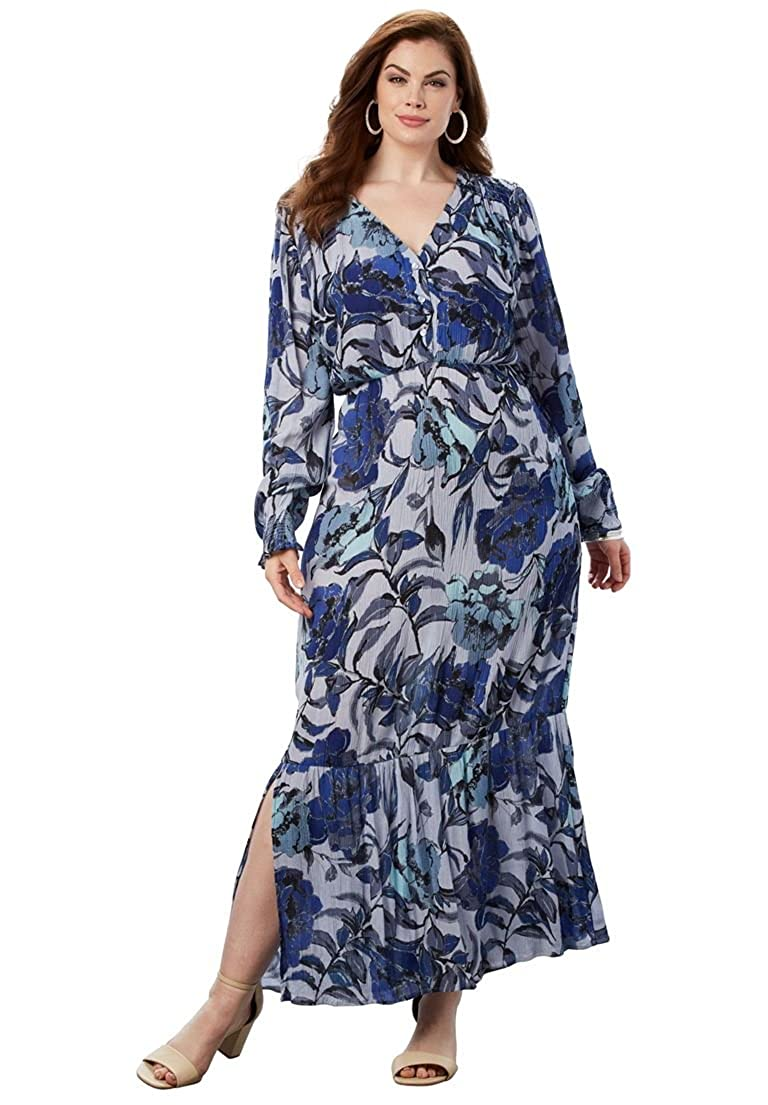 0b2a807258 Roamans Women s Plus Size Crinkle Maxi Dress at Amazon Women s Clothing  store