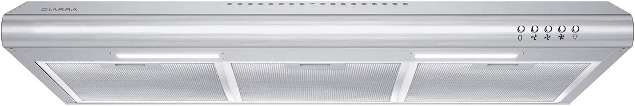 CIARRA CAS75918B 30 inch Under Cabinet Range Hood Stainless Steel Slim Kitchen Stove Vent Hood with 200 CFM, 3 Speed Exhaust Fan, Reusable Aluminum Filters, Ducted/Ductless Convertible, Push Button