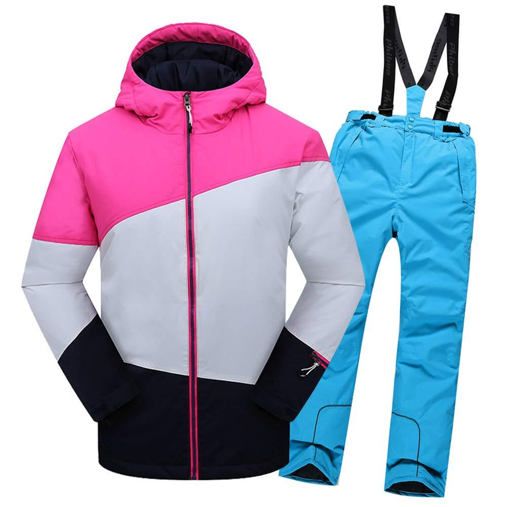Top Rose+pantalon Bleu Saphir 5-6 ans  hauteur recomhommedée 115-120cm LPATTERN Enfant Garçon Fille Ensemble de Ski Coupe-Vent Combinaison Unisexe de Ski Imperméable Chaud épais 2PCS 3-13ans