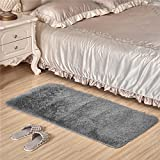 Adasmile Super Comfortable Thin Indoor Modern Shaggy Area Rugs/Floor Mat/Cover Carpets with Small Amount of Memory Foam for Living Room/bedroom/Nursery/Teens/Home Decorate,Silver,2Ftx4Ft