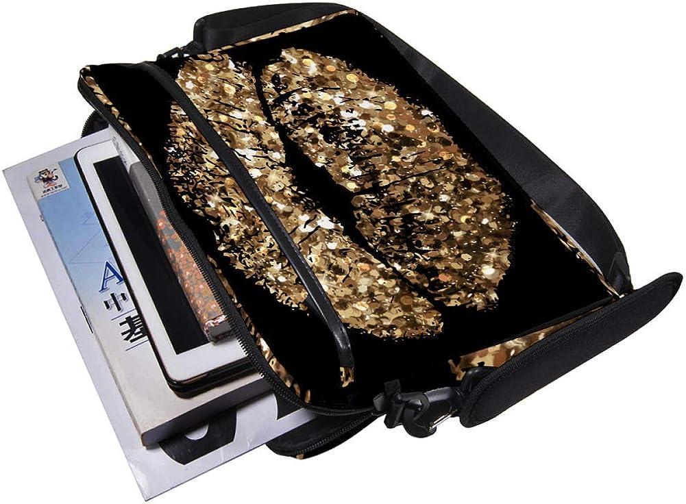 Lightweight 15 inch Laptop Bag Business Messenger Briefcases Gold Shining Lip Waterproof Computer Tablet Shoulder Bag Carrying Case Handbag for Men and Women