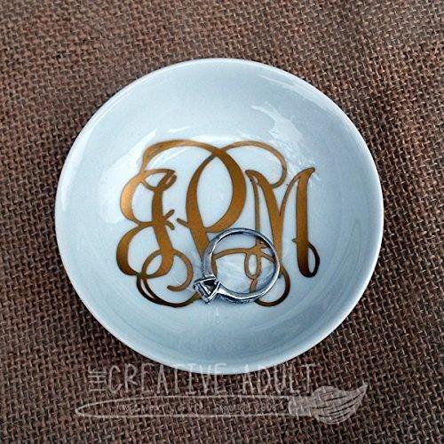 Monogrammed White Ceramic Ring Dish