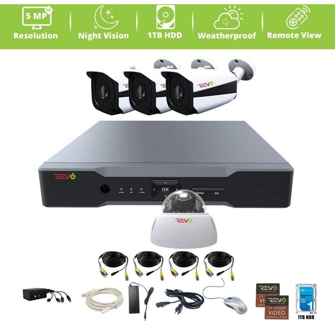 Revo America AeroHD 4Ch. 5MP DVR, 1TB HDD Video Security System, 3 x 5MP IR Bullet Cameras, 1 x 5MP Dome Camera Indoor Outdoor – Remote Access via Smart Phone, Tablet, PC MAC
