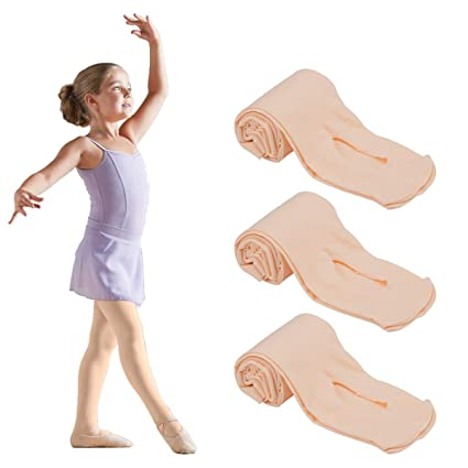 38a28834e4e52 PAMASE 3 Pairs Girls Ballet Dance Convertible Ballet Pink Tights for 3-9  Years Toddler
