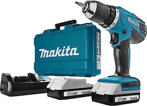 Oferta amazon: Makita HP457DWE - Taladro Percutor A Bateria 18V Litio-Ion 1.3 Ah