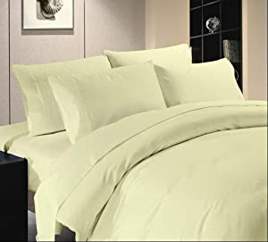 """US Comfort Zone 900-Thread-Count 100% Egyptian Cotton California Queen 4 Piece Sheet Set 16"""" Deep Pocket, Solid Ivory"""