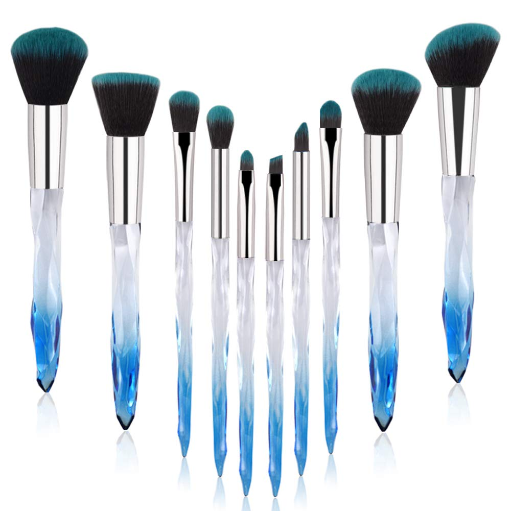Crystal Makeup Brushes, Premium Synthetic Foundation Blending Blush Powder Eye Shadow Brush Sets with Blue Transparent Handle Special Make-up Tools 10 Count
