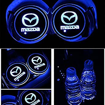 7 Colors Changing USB Charging Mat Luminescent Cup Pad LED Interior Atmosphere Lamp for All car Logo Dark rose 2pcs LED Car Cup Holder Lights -S-u-b-a-r-u-