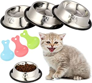 Inscape Data 3 Pieces Cat Bowls Stainless Steel Cat Food & Water Bowl Non-Slip Cat Feeding Bowls Cat Kitten Dishes with 3 Food Scoops, Suitable for Cats Puppies Rabbits