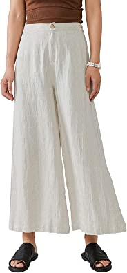 Les umes Ladies Womens Casual Loose Linen Elastic Waist Relaxed Trousers Cropped Wide Leg Culottes Pants US S-3XL US S-3XL
