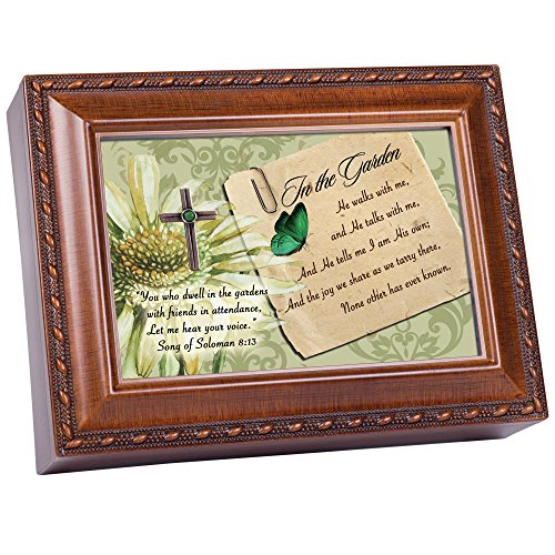 Cottage Garden in The Garden Wood Grain Finish Jewelry Music Box - Plays Song in The Garden (Music Box Plays In The Garden)