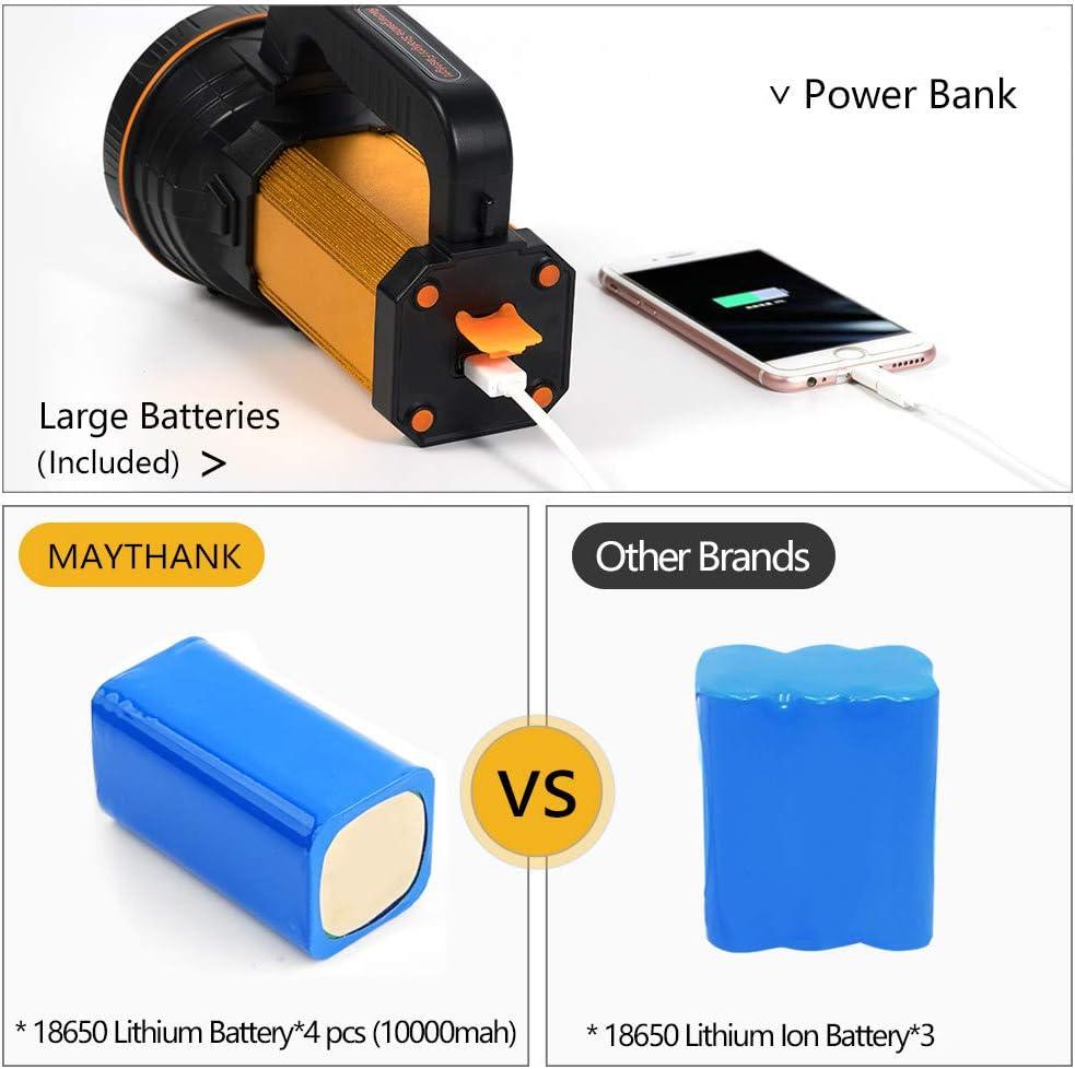 Maythank Super brillante llev/ó la antorcha grande 4 bater/ías 10000 mAh USB recargable resistente potente proyector de mano linterna de alta potencia reflector camping linterna 1 a/ño garant/ía