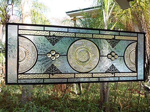 Depression Glass Stained Glass Panel, Vintage Federal Glass Heritage Pattern, Antique Window Valance, Stained Glass Window Transom (Handmade Heritage Panels)