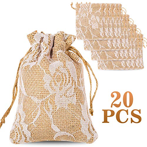 - Whaline 20 Packs Rose Lace Burlap Bags with Drawstring Gift Bags Jewelry Pouch for Wedding and Valentine's Party DIY Arts & Crafts Presents, 5.3 x 3.9 inches