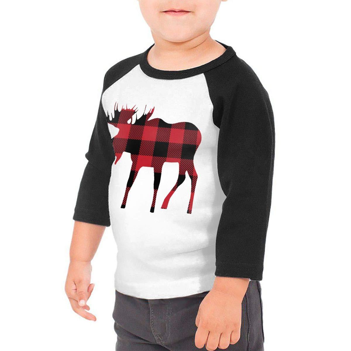 Kid's Boys& girls Buffalo Plaid Moose Lumberjack Red Black 3/4 Sleeve Raglan Tee Shirt For 2-6T Fillmore-M