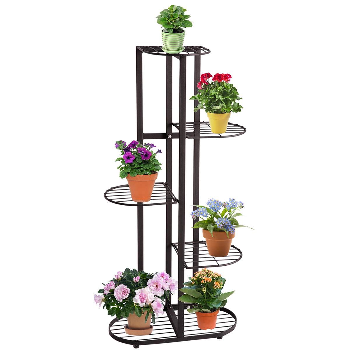 DOEWORKS 5 Tier Metal Plant Stand Flower Holder Pot Display Pots Holder for Indoor Outdoor Use, Black