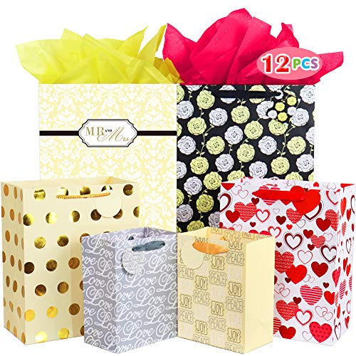 - Fzopo Large and Medium Gift Bags Assortment for Weddings, Bridal Showers, Birthdays, Baby Showers or Any Occasion (Variety Size, Pack of 12)