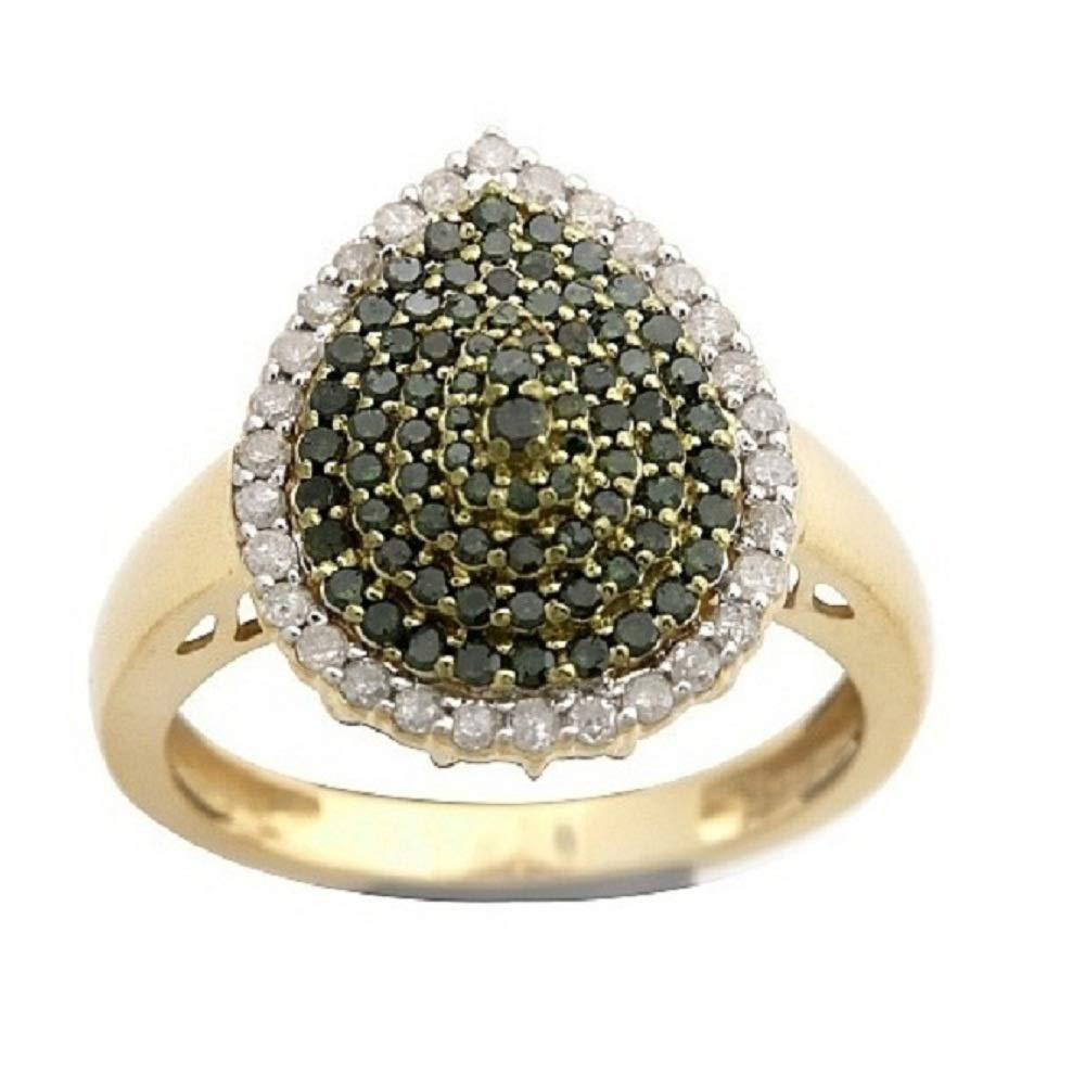 925 Sterling Silver Prism Jewel 0.76 Carat Round Green Color Diamond /& Diamond Cluster Ring