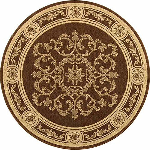 (Safavieh Courtyard Collection CY2914-3409 Chocolate and Natural Indoor/ Outdoor Round Area Rug (6'7