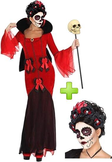 Disfraz de Catrina Roja: Amazon.es: Ropa y accesorios