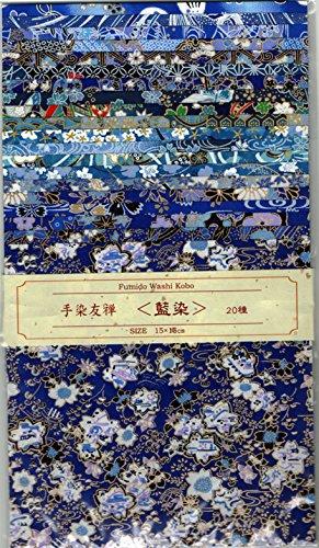 [해외]손 염색 유 쪽 염색 20 매 세트 15cmX15cm / Hand-dyed Yuzen indigo dyeing 20 pieces 15cmx15cm